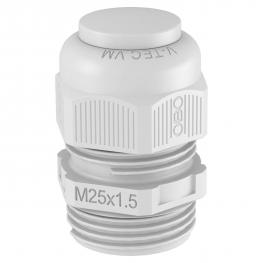 Hutmutterkabelverschraubung, metrisches Gewinde mit Verschlussstopfen, lichtgrau