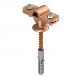 Leitungshalter mit Holzschraube, Kunststoffdübel Rd 8-10 mm verkupfert