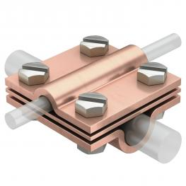 Kreuzverbinder mit Zwischenplatte für Rd 8-10 x Rd 16 Cu