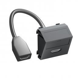 HDMI Anschluss, 1 Modul, Auslass schräg, mit Anschlusskabel
