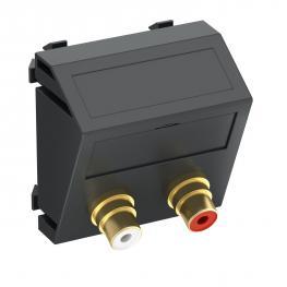 Audio-Cinch-Anschluss, 1 Modul, Auslass schräg, als 1:1-Kupplung, schwarzgrau