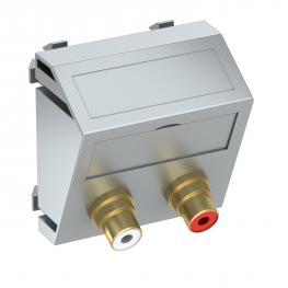 Audio-Cinch-Anschluss, 1 Modul, Auslass schräg, als 1:1-Kupplung, alu lackiert
