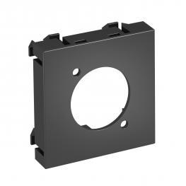 Multimediaträger für XLR Steckverbinder, 1 Modul, Auslass gerade, schwarzgrau