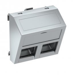 Datentechnikträger, 1 Modul, Auslass schräg, Typ C, ohne Staubschutzschieber