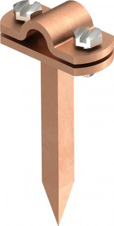 Leitungshalter Rd 8-10 mm, mit Vierkantstift verkupfert