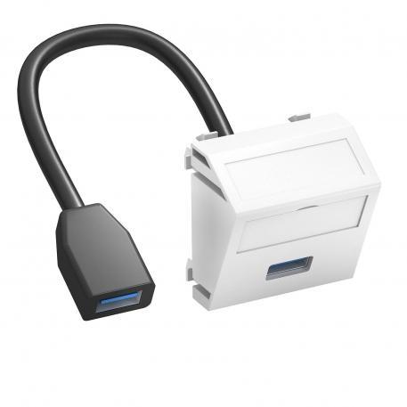 USB 2.0/3.0-Anschluss, 1 Modul, Auslass schräg, mit Anschlusskabel