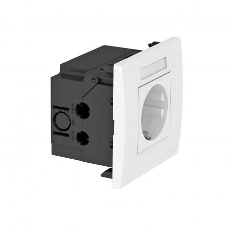 Steckdoseneinheit AR45, 1-fach, mit Beschriftungsfeld für waagerechte Geräteinstallation