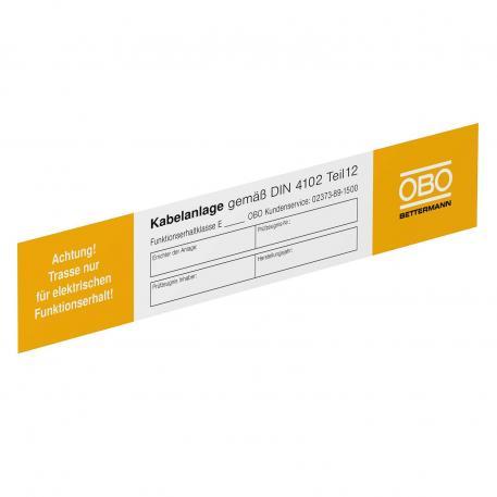 Kennzeichnungsschild für Kabelanlage