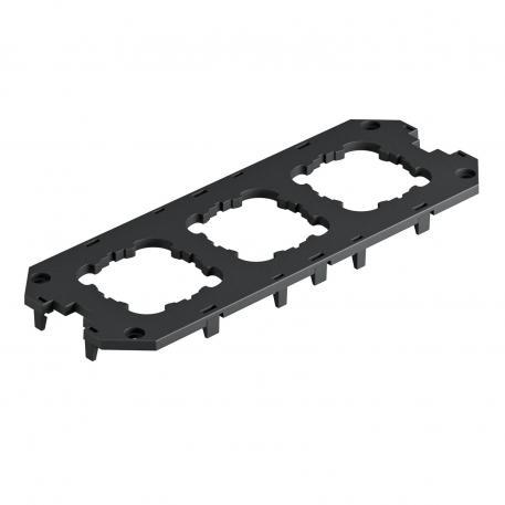 Abdeckplatte für Universalträger UT4, mit Einbauöffnungen für 3 EK-Geräte