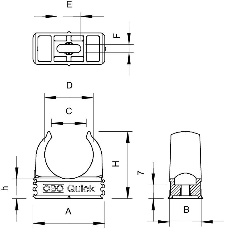 OBO Bettermann 2955 M25 Quick-Schelle PP lichtgrau RAL7035 100 Stück